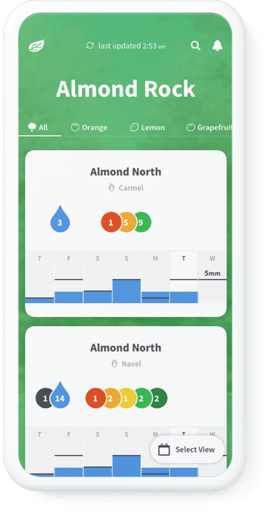 Phytech mobile dashboard mockup