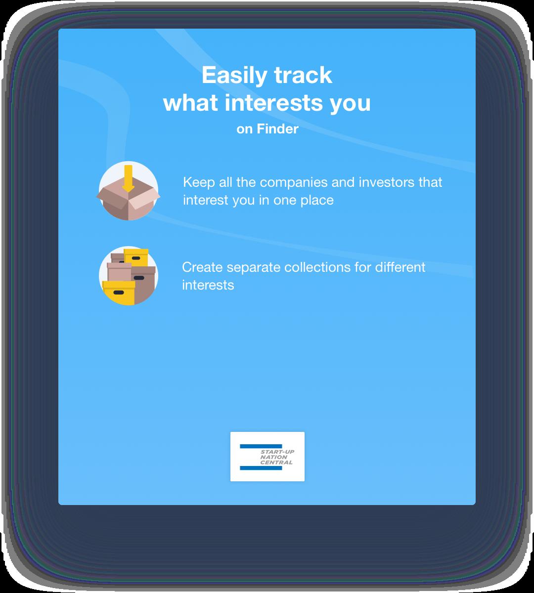 Start-Up Nation Finder sign up promt for collections
