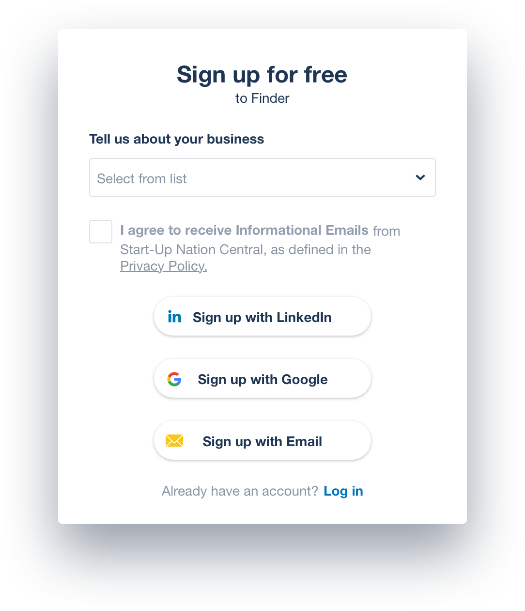 Start-Up Nation Finder sign up pop up with future changes