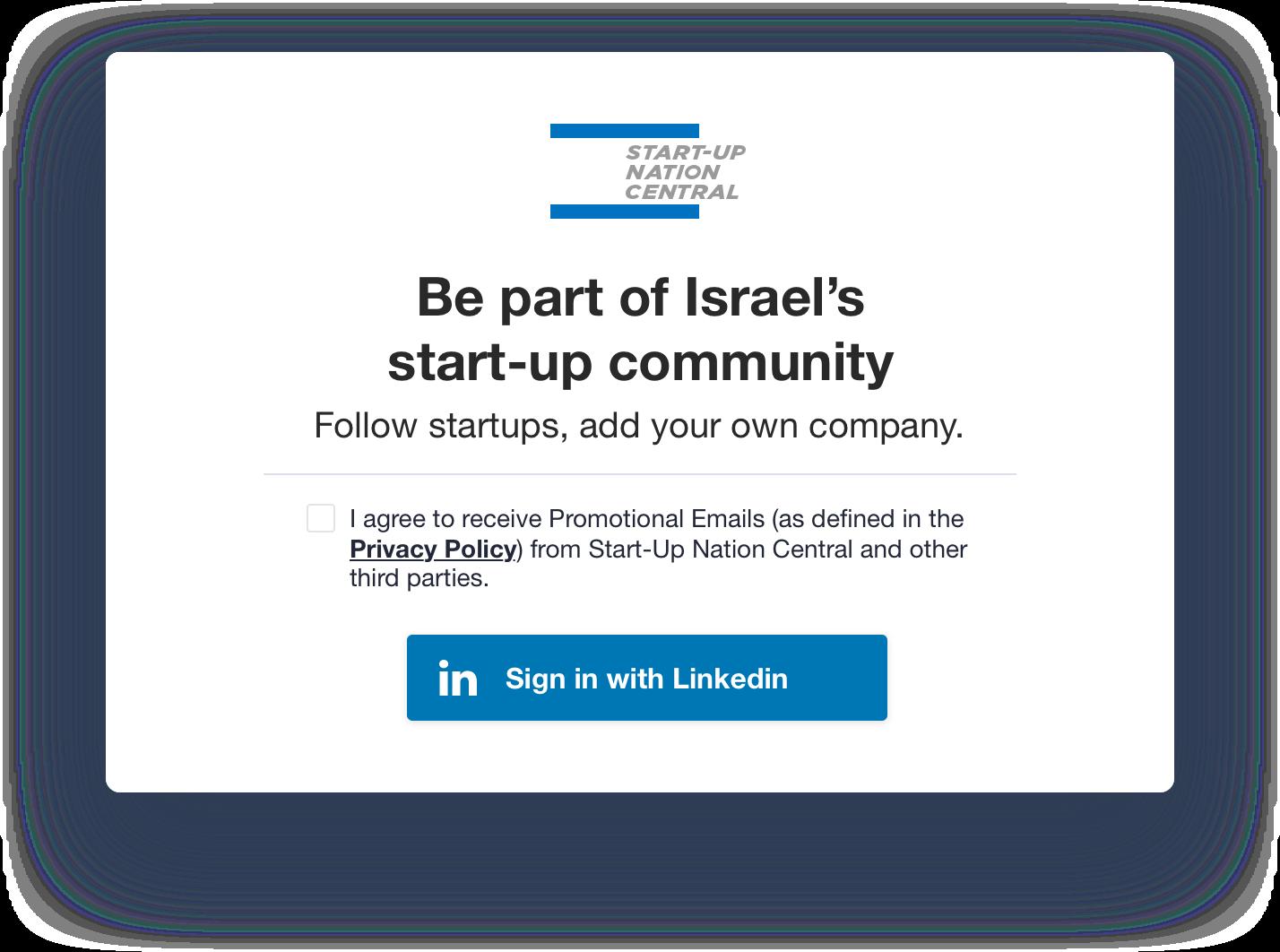 Start-Up Nation Finder old sign up popup