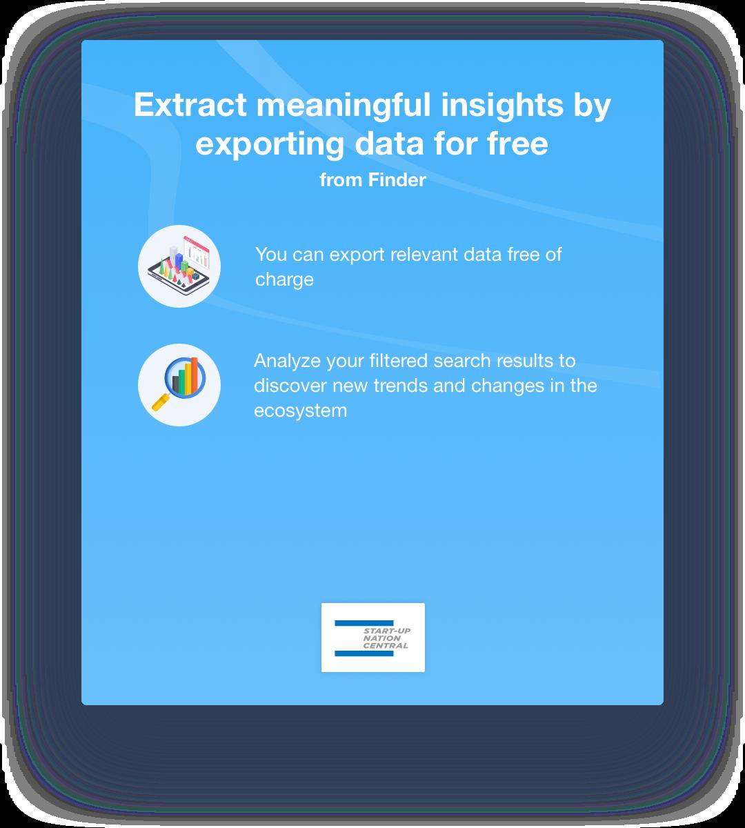 Start-Up Nation Finder sign up promt for export
