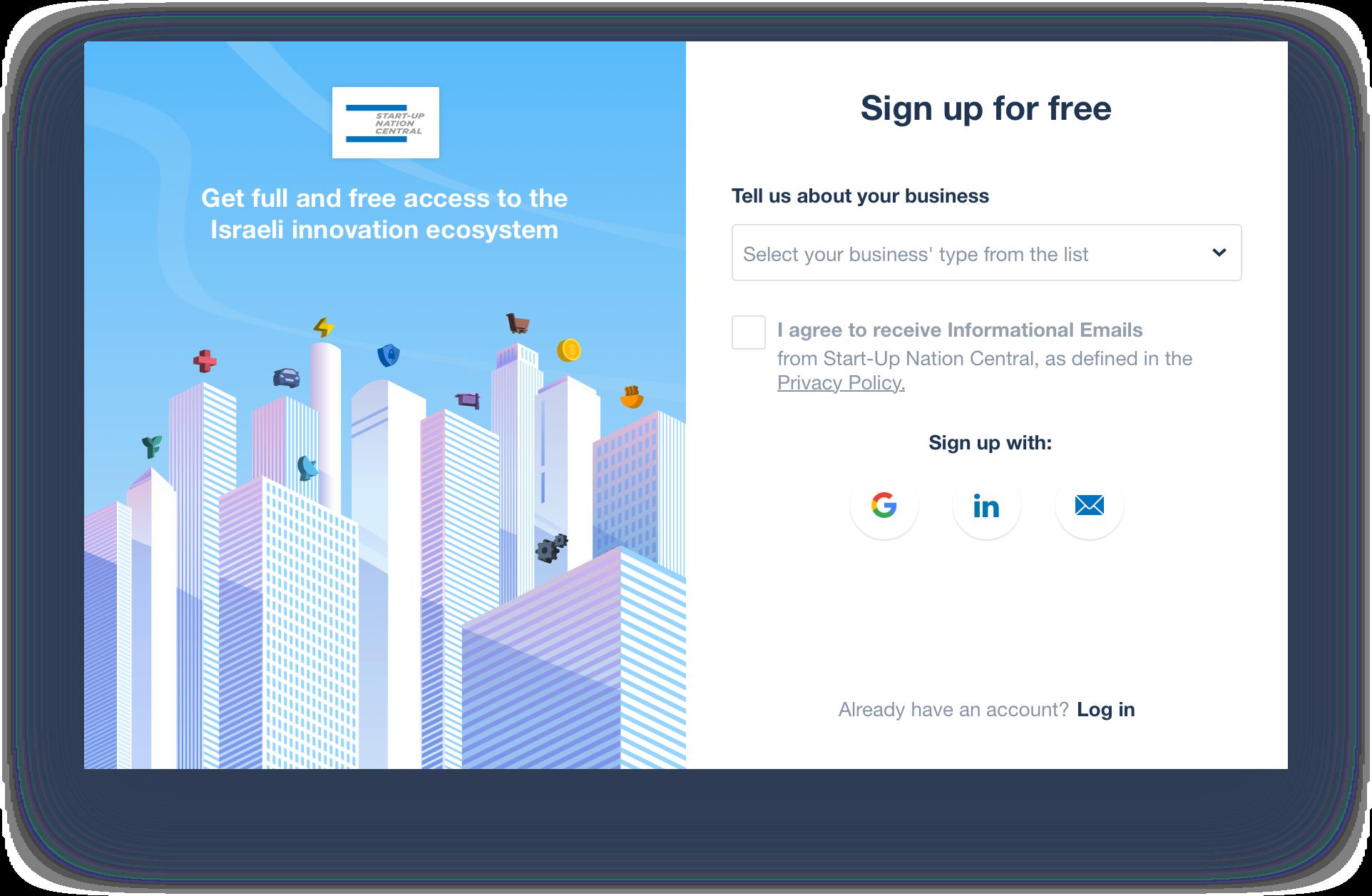Start-Up Nation Finder's new sign up popup