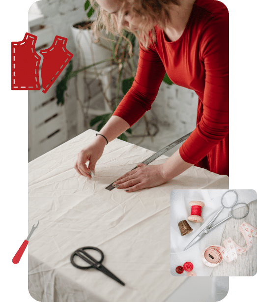 A woman wearing a red dress learning drafting, sewing, cutting and finishing on muslin fabric during TaF.tc's Basic Drafting and Sewing class.