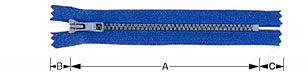 A blue zipper teaching how to measure the length for a zipper that is needed for TaF.tc's Basic Drafting and Sewing and Intermediate Drafting and Sewing class!