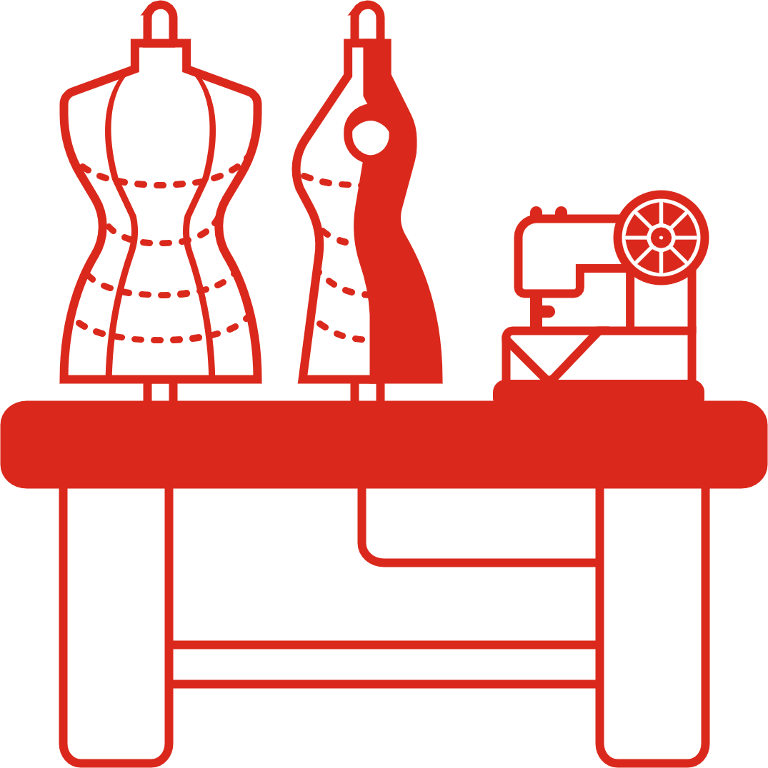 An illustration of a sneaker broken down and shoe making tools