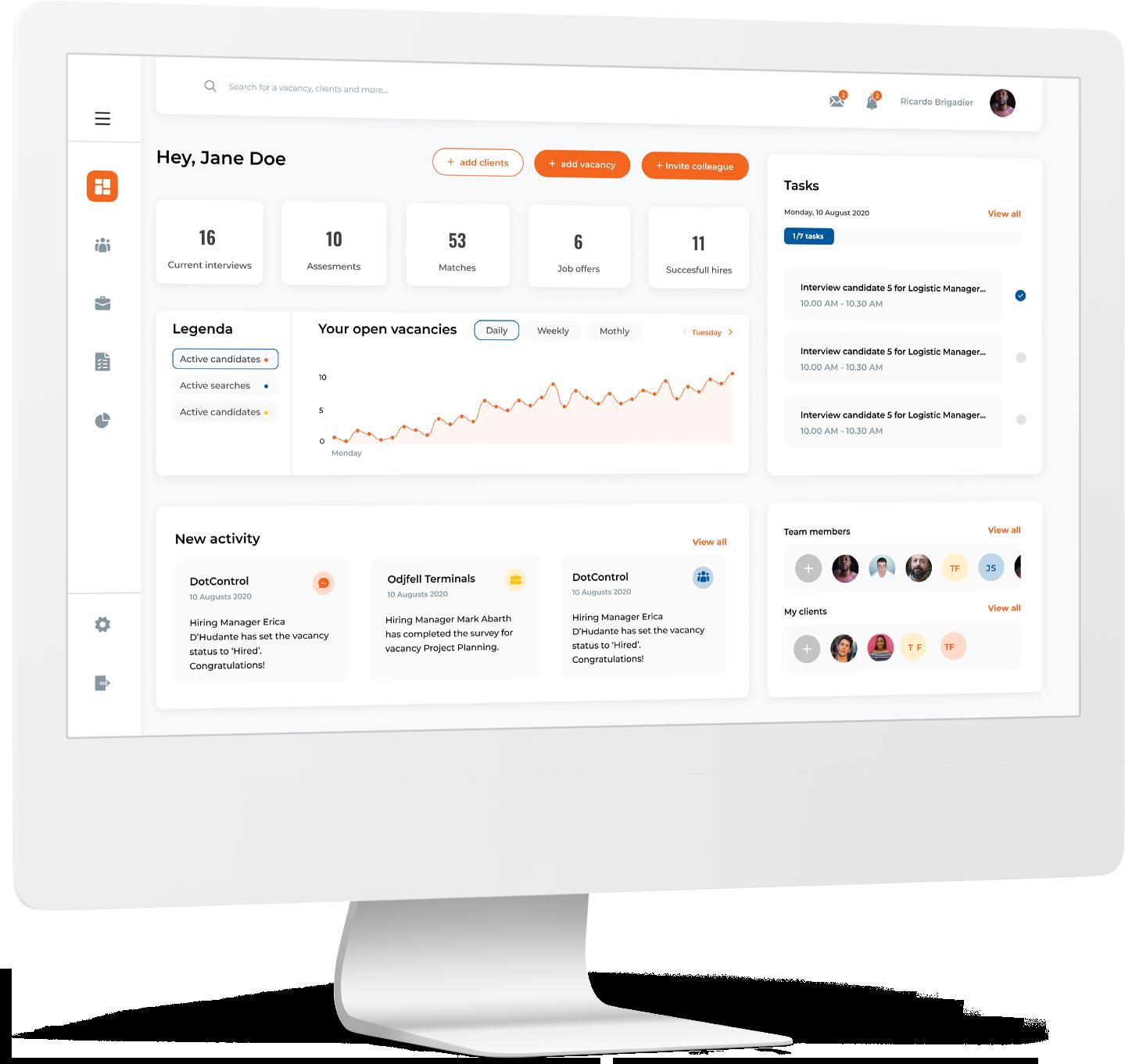 Mockup of product dashboard