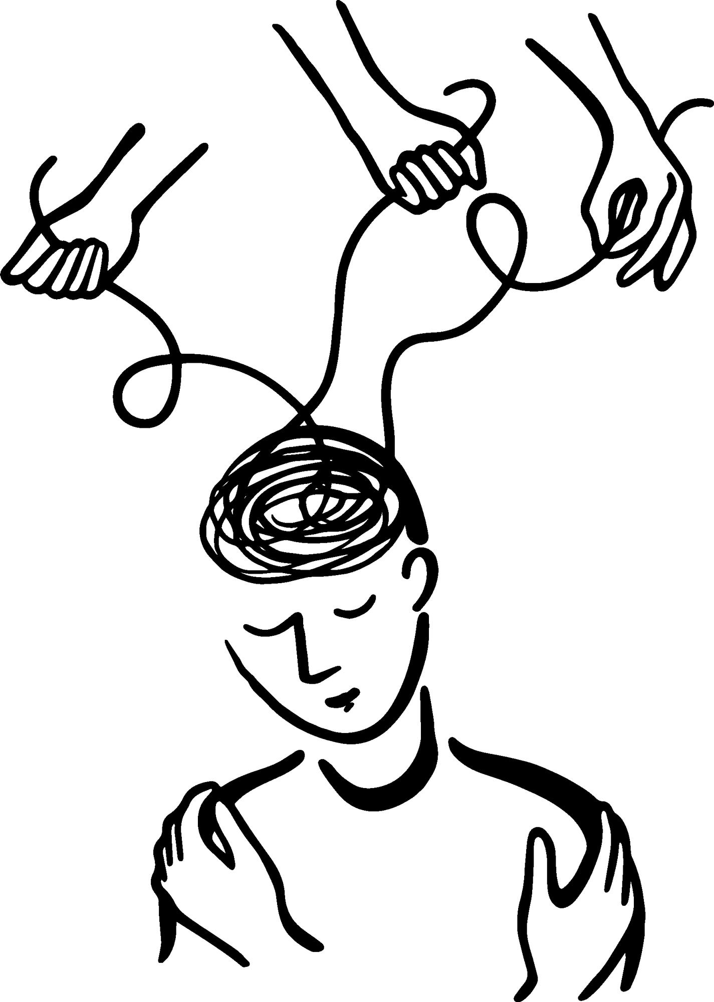 Handgezeichnete Illustration mit einem Menschen dessen Kopf von Händen gesteuert wird
