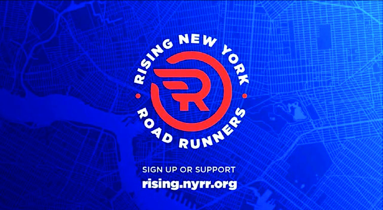 The logo for Rising New York Road Runners placed on a blended dark blue to royal blue background