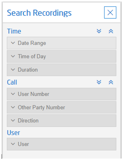 Search for call recordings