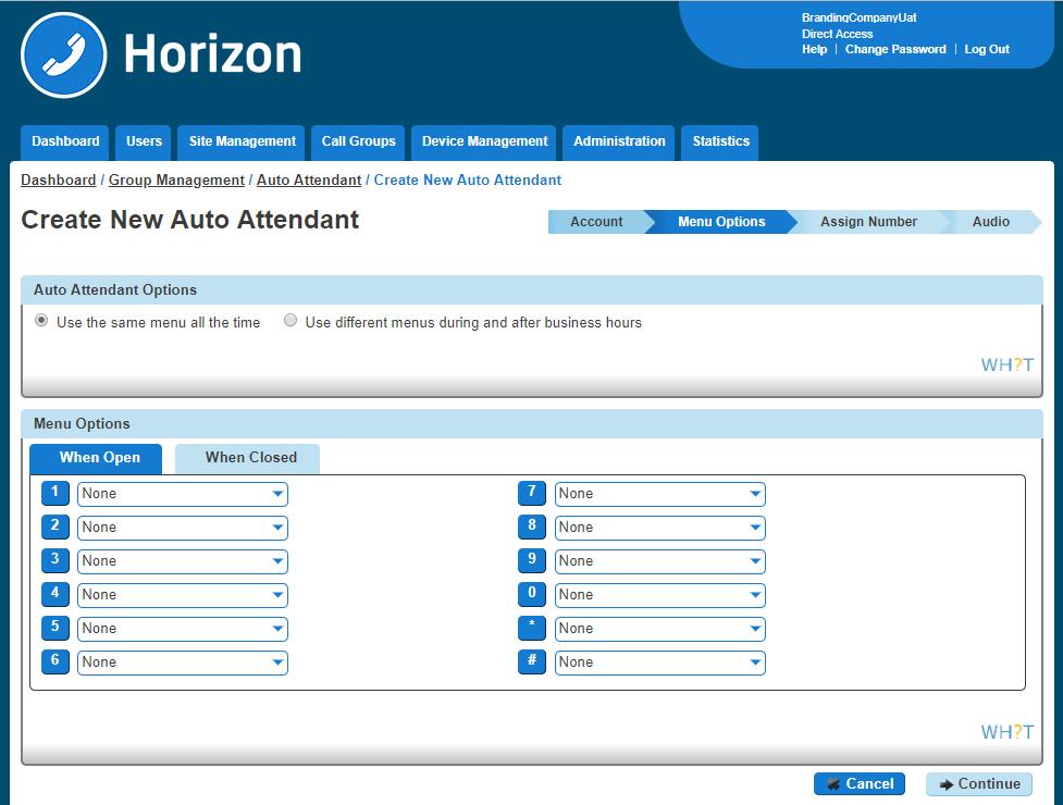 Screenshot of Horizon Auto Attendant