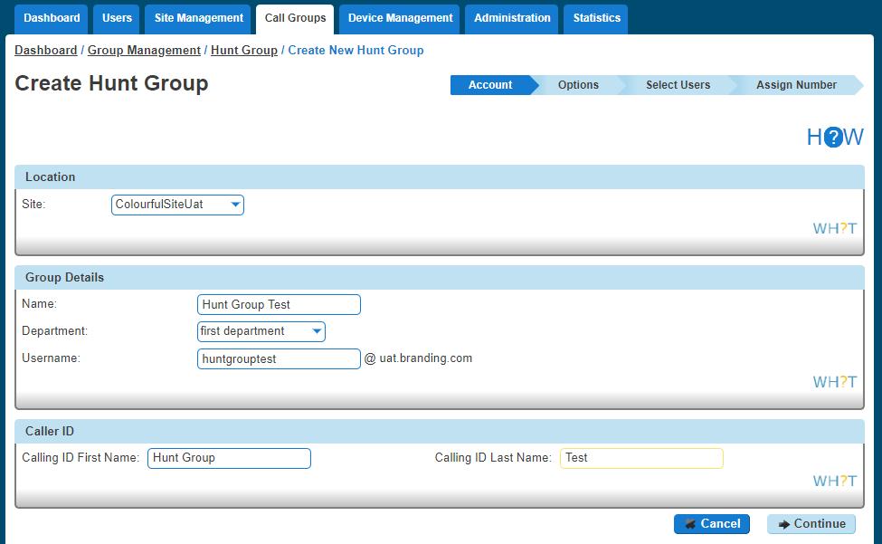 Create Hunt group screenshot