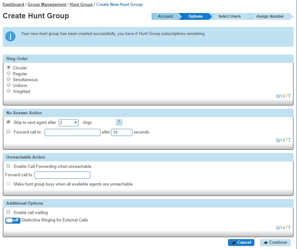 Hunt group options