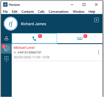 Voicemail Tab