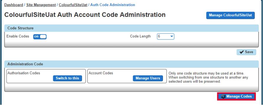 Manage Codes