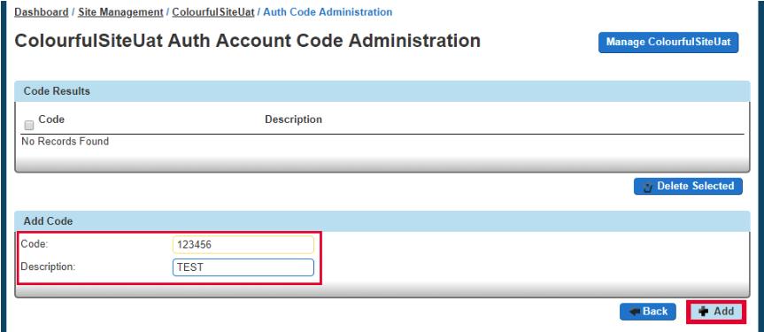 Add Account Code