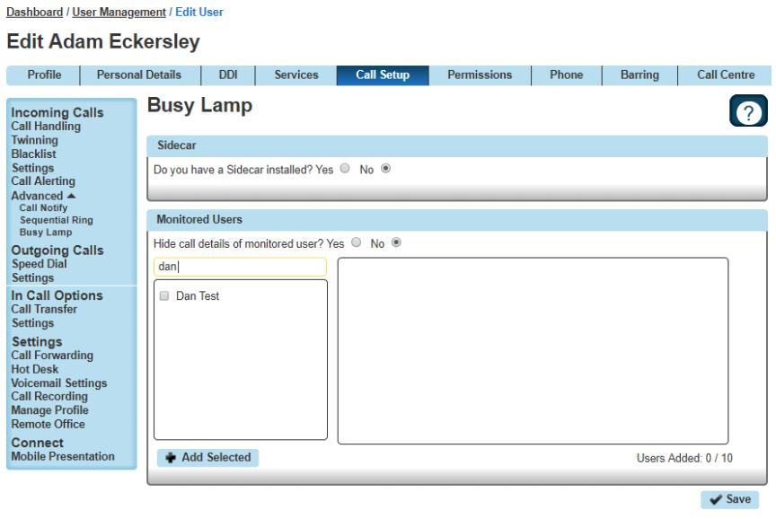 Edit Busy Lamp User