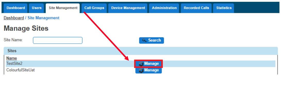 Site Management - Manage