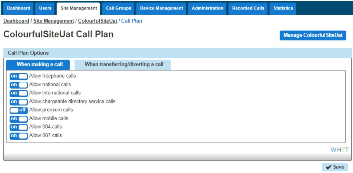 Call plan