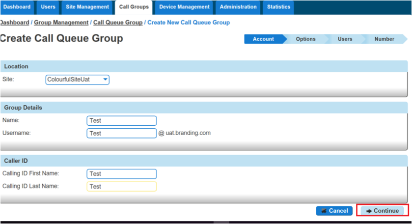 Create Call Queue Group