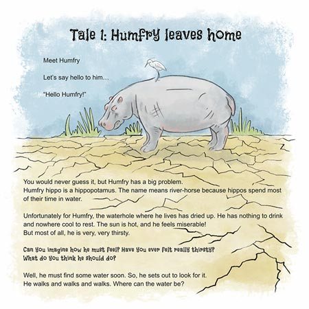 "Image from the children's book ""Humfry Hippo Moves Home"""