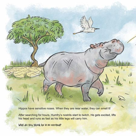 "Hippo image from the children's book ""Humfry Hippo Moves Home"""