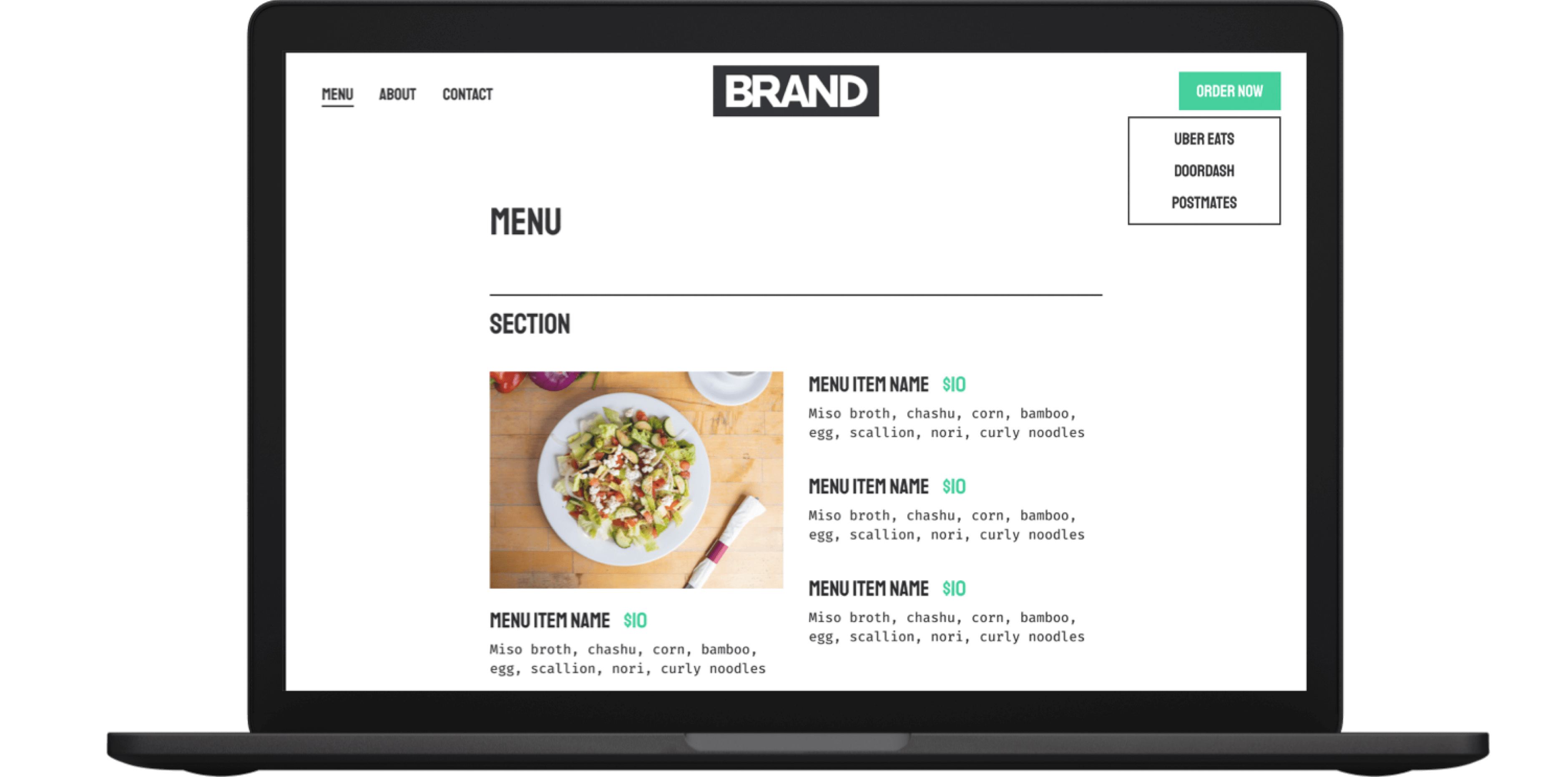 a laptop with virtual kitchen ordering menu