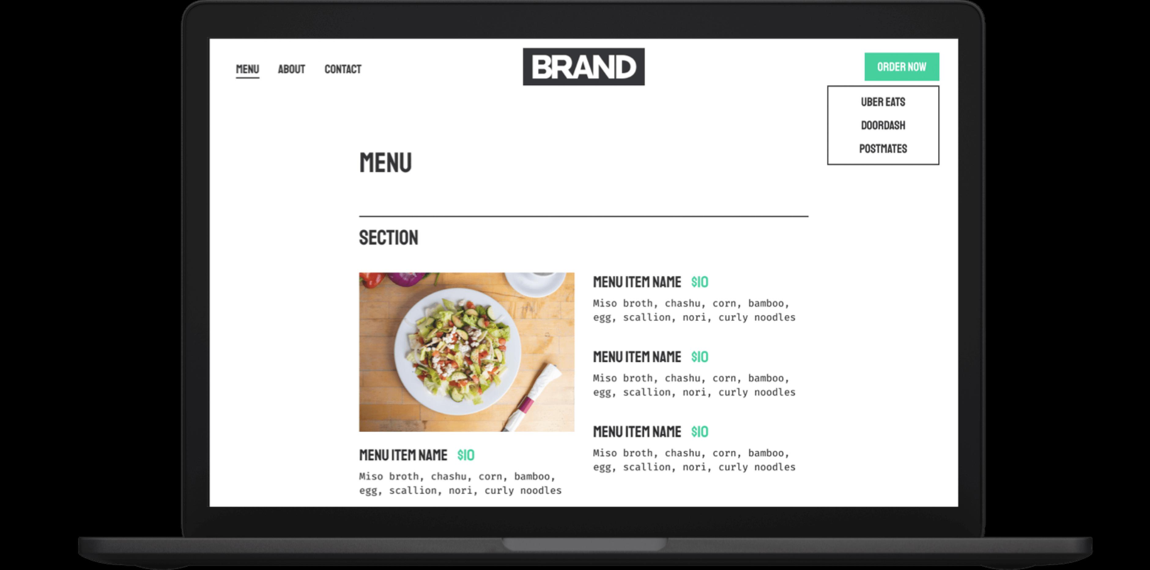 virtual kitchens ordering menu