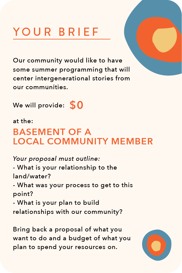 Prompt Cards for participants of the climate-justice workshop. The card reads your brief: our community would like to have some summer programming that will center intergenerational stories from our communities. We will provide $0 at the basement of a local community member. Your proposal must outline: what is your relationship to land and water, what was your process to get to this point, and what is your plan to build relationships with our community. Bring back a proposal of what you want to do and a budget of what you plan to spend your resources on. this image is beige, with a blue, orange, and yellow circle in both the upper and lower right hand corners
