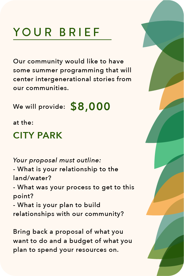 Prompt Cards for participants of the climate-justice workshop. The card reads your brief: our community would like to have some summer programming that will center intergenerational stories from our communities. We will provide $8,000 at the city park. Your proposal must outline: what is your relationship to land and water, what was your process to get to this point, and what is your plan to build relationships with our community. Bring back a proposal of what you want to do and a budget of what you plan to spend your resources on. this image is beige, with green and yellow leaves along the right hand border