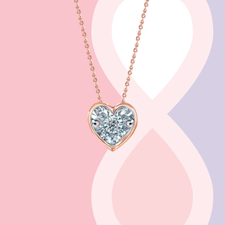 'ENCAPSULATED HEART DANCING DIAMOND' NECKLACE SET IN ROSE GOLD