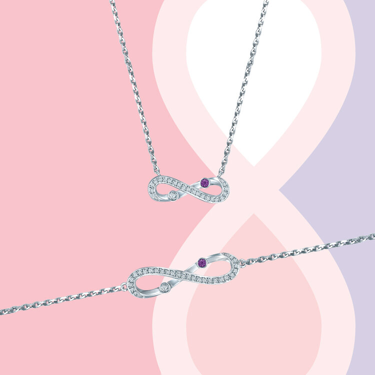 'INFINITE DIAMOND' NECKLACE AND BRACELET IN WHITE GOLD