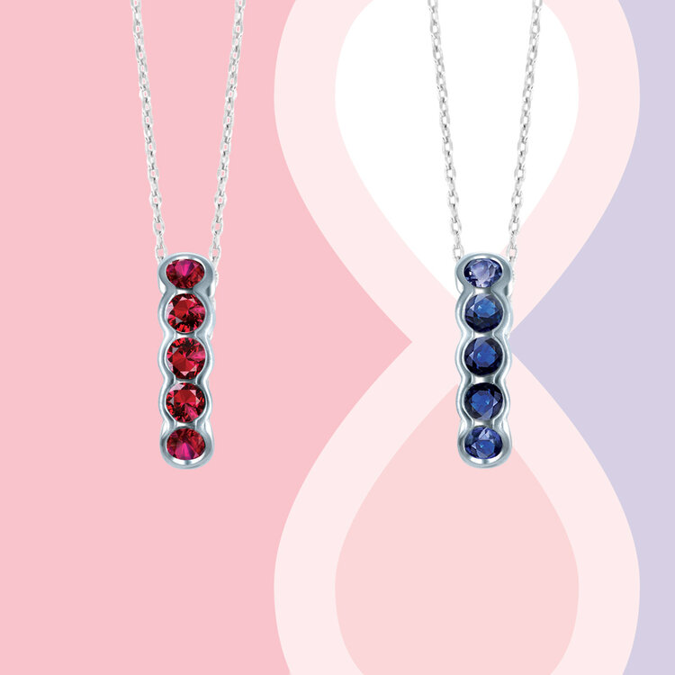 'SEVEN BEATS' PENDANT IN RUBY AND BLUE SAPPHIRE