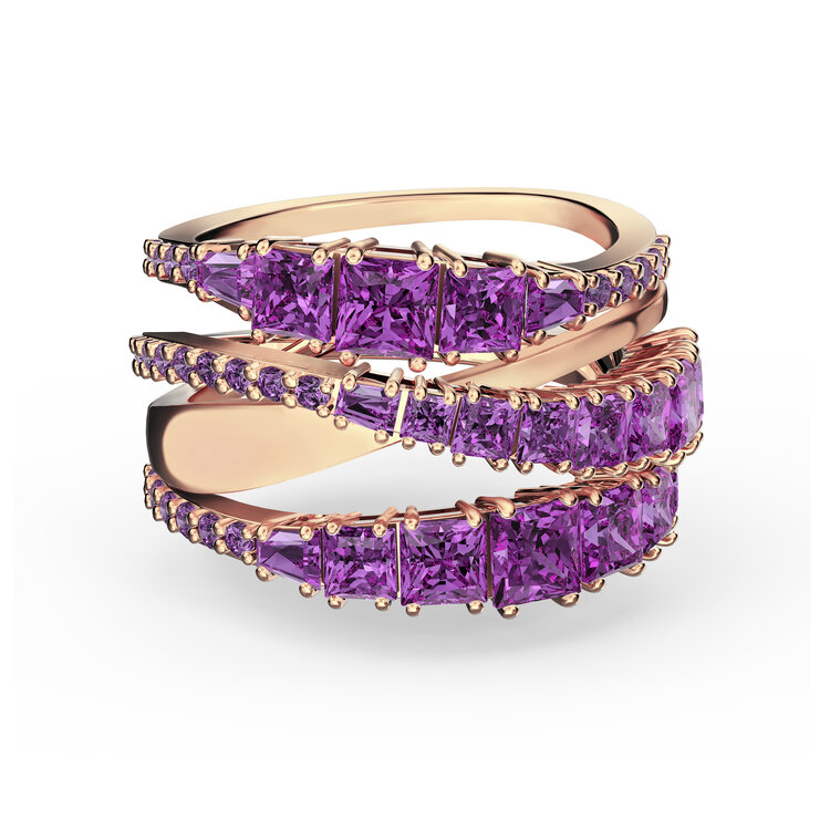 'TWIST WRAP' RING IN PURPLE AND ROSE-GOLD TONE PLATED