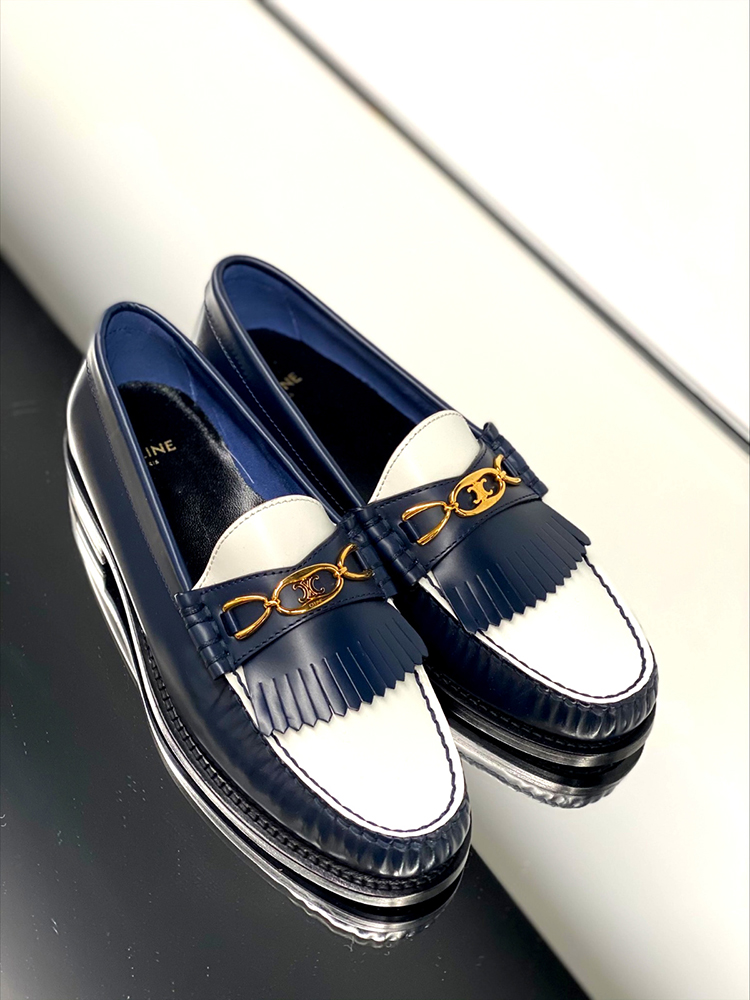 'LUCO MAILLON TRIOMPHE' LOAFERS (POLISHED CALFSKIN) IN NAVY/WHITE, RM4,650, CELINE