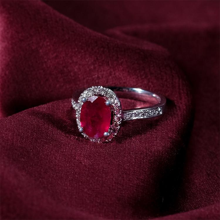 Ruby Gemstone on Halo Pave Ring by Zcova