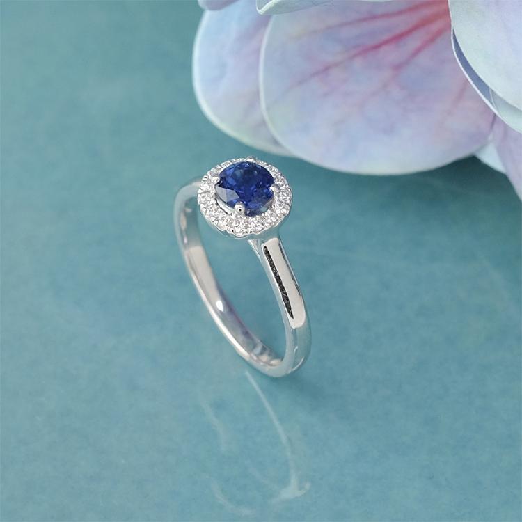 Blue Sapphire Gemstone Halo Ring by Zcova