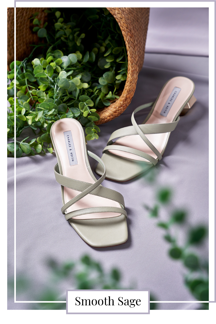 CROSS STRAP HEELED MULES IN SAGE GREEN