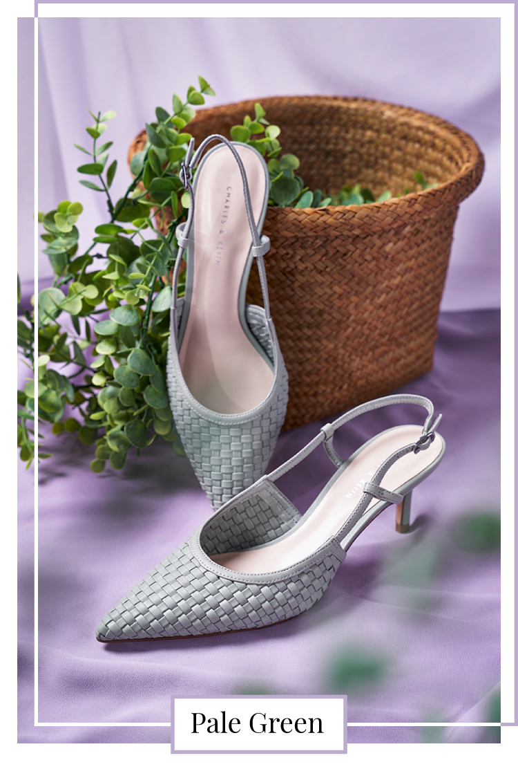 WOVEN SLINGBACK PUMPS IN SAGE GREEN
