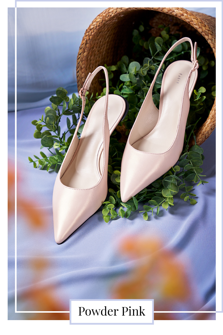 LEATHER SLINGBACK PUMPS IN NUDE