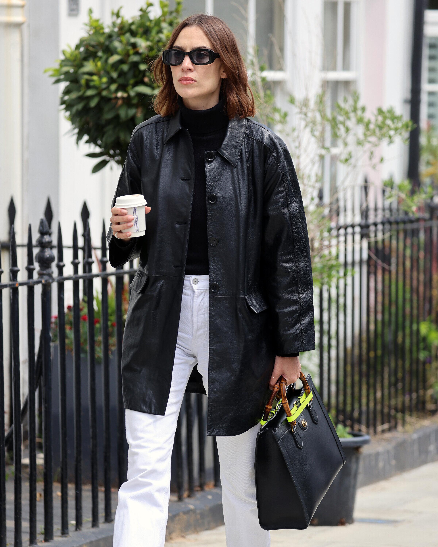 Alexa Chung carrying the Gucci 'Diana' medium tote bag