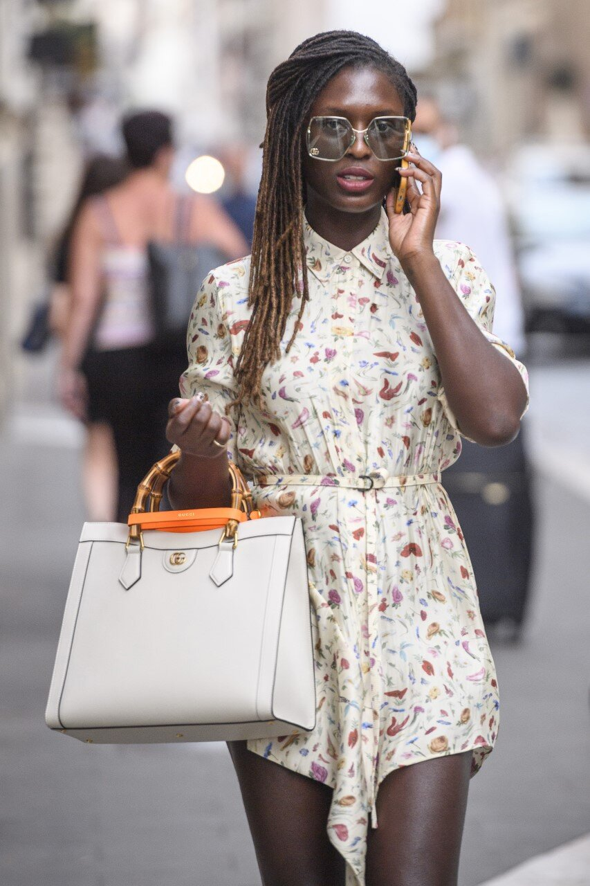 Jodie Turner-Smith carrying the Gucci 'Diana' medium tote bag