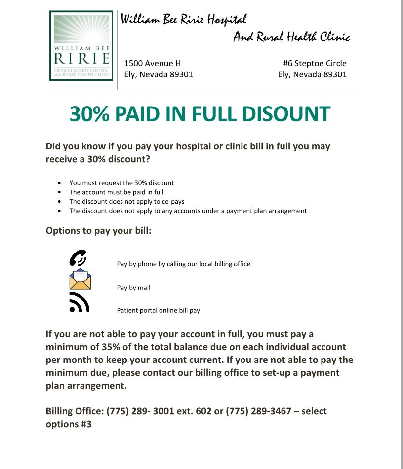 30% Discount for Payment in Full