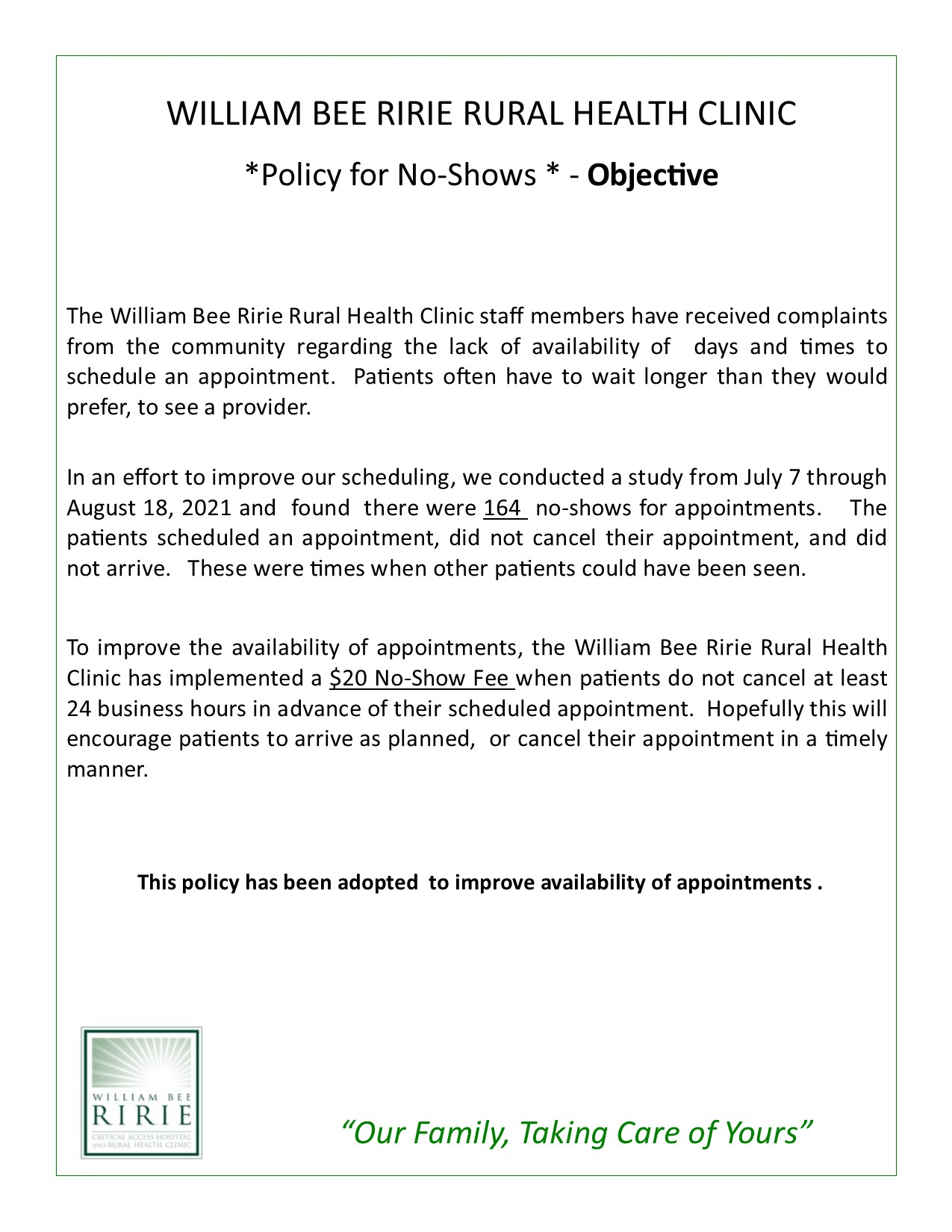 No Show Policy - Objective