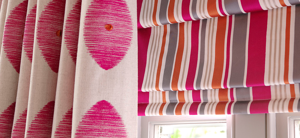pink roman blind with pink hand sewn curtain