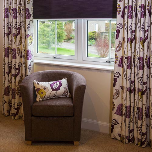 long curtains and window blind