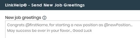 send new job greetings
