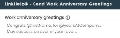 send work anniversary greetings