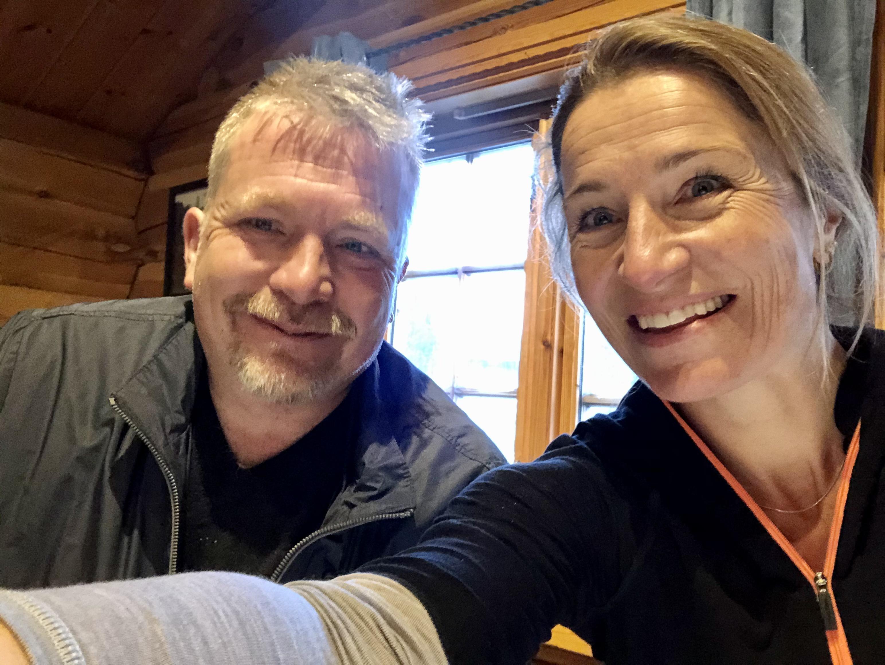 Morten og undertegnede i Hoppkafeen etter trening.
