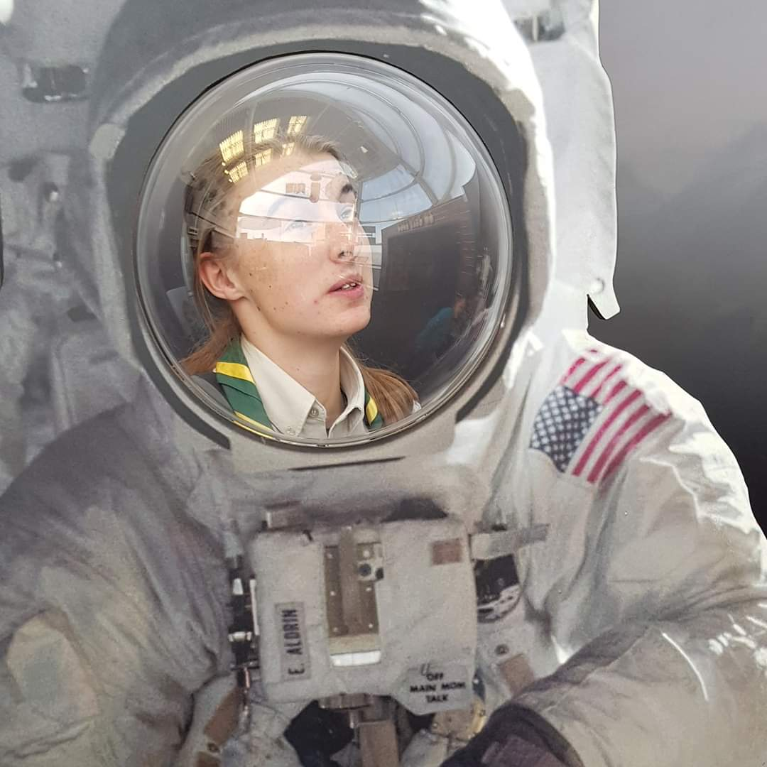 Me in a space suit cardboard cut out