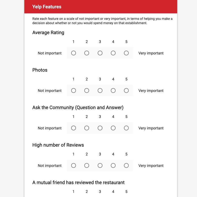 Screenshot of preliminary survey